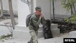 A Russian Black Sea Fleet soldier in Sevastopol recently