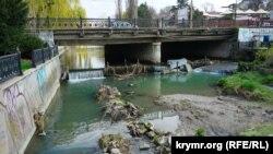 Мусор в Салгире у моста на проспекте Кирова, Симферополь, 30 марта 2017 года
