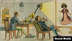 Передача кино на расстоянии. Почтовая открытка 1910 года. Национальная библиотека Франции