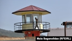 A guard tower at Tbilisi Prison No 8 in Tbilisi, where the abuses in the secretly made video were said to have taken place