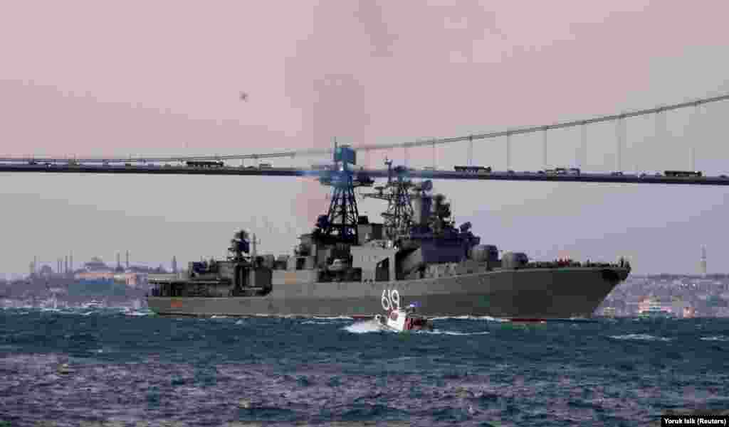 Согласно данным российского военно-морского портала,на вооружении корабля находятся восемь пусковых установок ЗРК «Кинжал» (64 ракеты), две четырехконтейнерные установки ракето-торпед «Раструб», реактивные бомбометные установки РБУ-6000, артиллерийские установки АК-100 и АК-630М. Также на борту базируются два вертолета Ка-27
