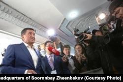 Sooronbai Jeenbekov, a 58-year-old political ally of incumbent President Almazbek Atambaev, votes in Bishkek.