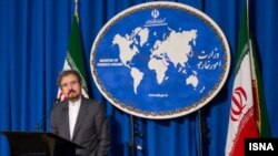Iranian foreign ministry spokesman, Bahram Qassemi speaks during a press conference in Tehran, undated