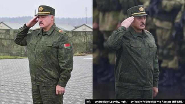 Зьлева Аляксандар Лукашэнка на фота з president.gov.by, справа на фота Васіля Федасенкі для Reuters