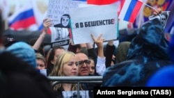 Tens of thousands of people gathered for an opposition rally in Moscow on August 10.