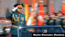 RUSSIA -- Russian Defence Minister Sergei Shoigu salutes as he takes part in the Victory Day parade, marking the 73rd anniversary of the victory over Nazi Germany in World War Two, at Red Square in Moscow, Russia May 9, 2018.