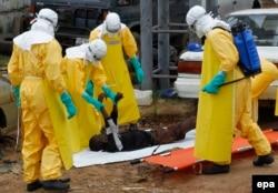 Лекары падбіраюць цела ахвяры Эболы ў Лібэрыі, верасень 2014-га