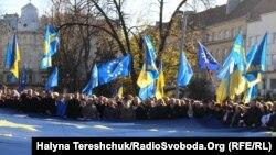 Митинг на Украине за сближение с Европой