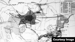 Қазақтардың 1916 жылғы ұлт-азаттық көтерілісінің картасы.