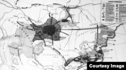 Казакстандагы 1916-жылкы көтөрүлүштүн картасы.