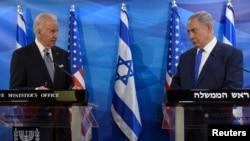 ارشیف، عکس تئزیني بڼه لري، د امریکا ولسمشر جو بایډن د اسراییل له وزیر اعظم بنیامن نتانیاهو سره