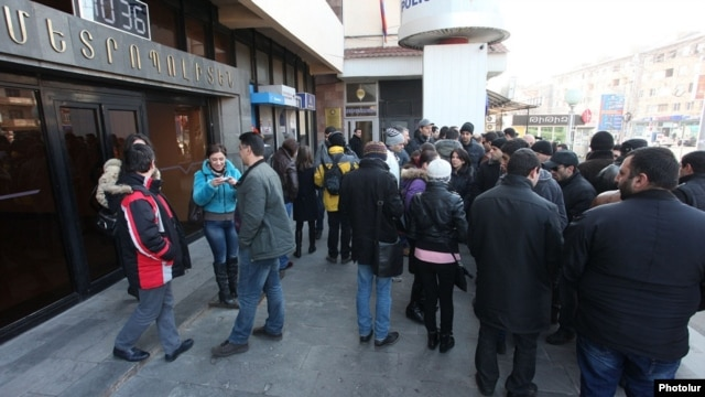 Armenia - Workers of the Yerevan Metro protest against pension reform, 12Feb2014.