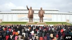 Празднование юбилея северокорейского лидера Ким Ир Сена, Северная Корея, апрель, 2018.