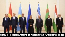 Foreign ministers of the five Central Asian nations with EU foreign policy chief Federica Mogherini.