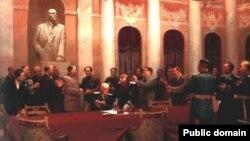 """ვ. ვიხტინსკი, ბ. ჟუკოვი, ე. ლევინი, ლ.ჩერნოვი, ლ. შმატკო, """"მშვიდობისათვის. საბჭოთა კავშირსა და ჩინეთის სახალხო რესპუბლიკას შორის ხელშეკრულების ხელმოწერა"""", 1950"""