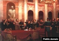"""Картина """"Сталин и Мао Цзедун подписывают Советско-китайский договор о дружбе, союзе и взаимной помощи"""""""