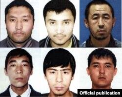 Предполагаемые преступники. Слева направо: Даулетбек Байузах, Азамат Манханов, Аскар Утепов, Калдыбек Алпышев, Елдар Жолдин, Айдос Бримкулов.
