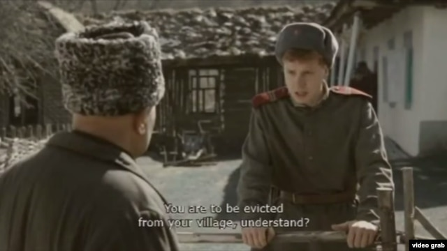 "A screen grab of the film ""Ordered to Forget,"" which looks at a reported atrocity that occurred during the Chechen-Ingush deportation of 1944."