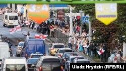 Протести проти офіційних результатів президентських виборів тривають у Білорусі з 9 серпня щодня. На фото: Мінськ, 21 серпня 2020 року