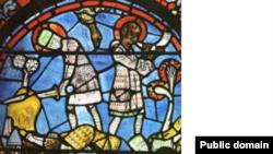 Vitraliu reprezentînd Legenda trădării, Catedrala Chartres