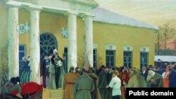 Чтение манифеста. Борис Кустодиев, 1907 год