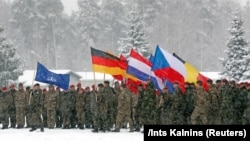Военнослужащие НАТО с флагами своих стран и Североатлантического союза во время учений в Литве, февраль 2019 года