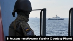 A Ukrainian naval soldier on the Sea of Azov