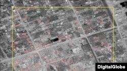 Yerlə yeksan edilmiş ərazinin peyk görüntüsü