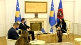 Kosovo: The European Union's special envoy for the dialogue, Miroslav Lajcak during a meeting with acting president of Kosovo, Vjosa Osmani