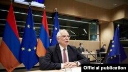 Belgium -- EU foreign policy chief Josep Borrell chairs a meeting of the EU-Armenia Partnership Council, Brussels, December 17, 2020.