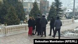 Участники акции протеста в городе Нарын. 14 января 2021 года.