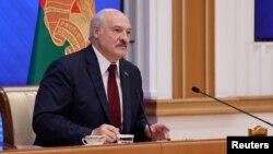 Александр Лукашенко на пресс-конференции в Минске, август 2021 года