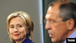 Russian Foreign Minister Sergei Lavrov with visiting U.S. Secretary of State Hillary Clinton at a press conference in Moscow