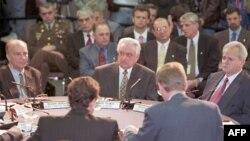 Trojica predsjednika na početku pregovora, 1. novembar 1995.