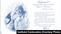 Decretul Regal din 1921, semnat de Regele Ferdinand, prin care a fost înființat Institutul Cantacuzino.