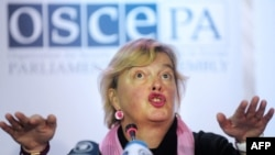 OSCE monitoring head Walburga Habsburg Douglas said the October 28 elections marked a democratic reversal in Ukraine.