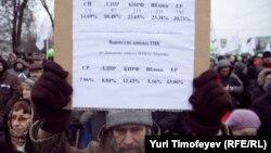 """Один из наблюдателей от партии """"Яблоко"""" на митинге """"За честные выборы"""" с данными по своему участку и финальными результатами ТИК по району, 17 декабря 2011"""