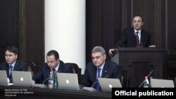 Armenia -- Justice Minister Hrayr Tovmasian addresses a cabinet meeting, Yerevan, 15Dec2011.