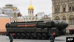A Russian Yars RS-24 intercontinental ballistic missile system seen in the Victory Day military parade in Moscow.