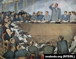 Энвэр Ходжа дае адпор маскоўскім таварышам, мастак Гуры Мадзі