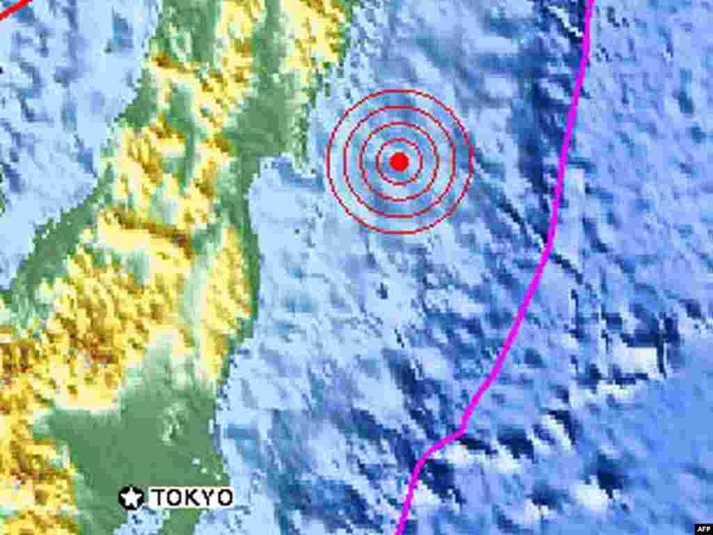 Japan--The massive 8.8 magnitude earthquake that struck off Japan, fragmant, 11Mar2011 - Эта карта, полученная из Геологической службы США (USGS) иллюстрирует землетрясение магнитудой 8,8-8,9 у берегов Японии в пятницу, 11 марта 2011 года. AFP PHOTO / USGS