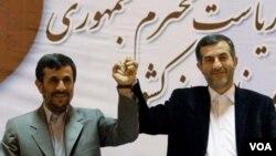 Will Mahmud Ahmadinejad (left) push the candidacy of his right-hand man and hand-picked successor, Esfandiari Rahim Mashaei?