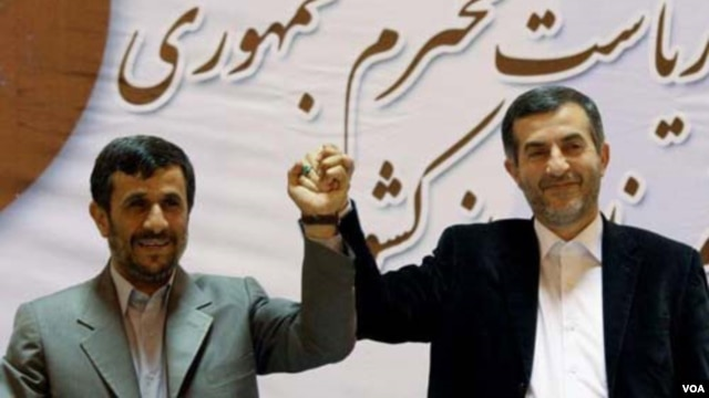 Will Mahmud Ahmadinejad (left) push the candidacy of his right-hand man and hand-picked successor, Esfandiari Rahim Mashaei?