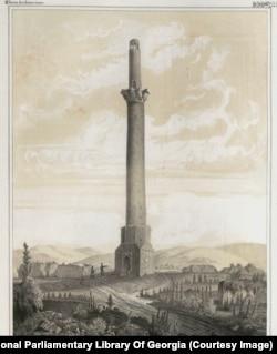 Двое мужчин у минарета Шамкир, расположенного на территории современного Азербайджана. По некоторым данным, это сооружение, которое рухнуло и превратилось в руины до 1861 года, было высотой 60 метров. Считается, что строение, возведенное примерно в 11 веке, использовалось в качестве военной сторожевой башни.