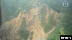 An aerial view of the landslide-hit area of Pantukan, in Compostela Valley on the southern island of Mindanao, on January 5.