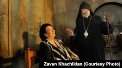 Nagorno Karabakh - Spain's prominent operatic soprano Montserrat Caballe visitis Gandzasar monastery with Karabakh Archbishop Pargev Martirosian, 4Jun2013. (Photo by Zaven Khachikian).