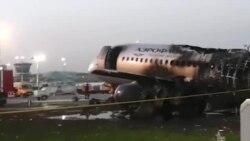 Autoritățile ruse fac publice imagini cu avionul distrus de flăcări