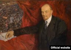 """В.И. Ленин на фоне манифестации"". Картина Исаака Бродского (1919)"