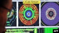 Отображение на экране компьютера эксперимента Атлас – первой проводки протонов на кольцу Большого адронного коллайдера. CERN