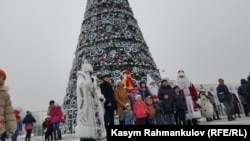 A holiday tree in the Kyrgyz capital, Bishkek
